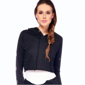 Trendy Cropped Zippered Hoodie Sweater